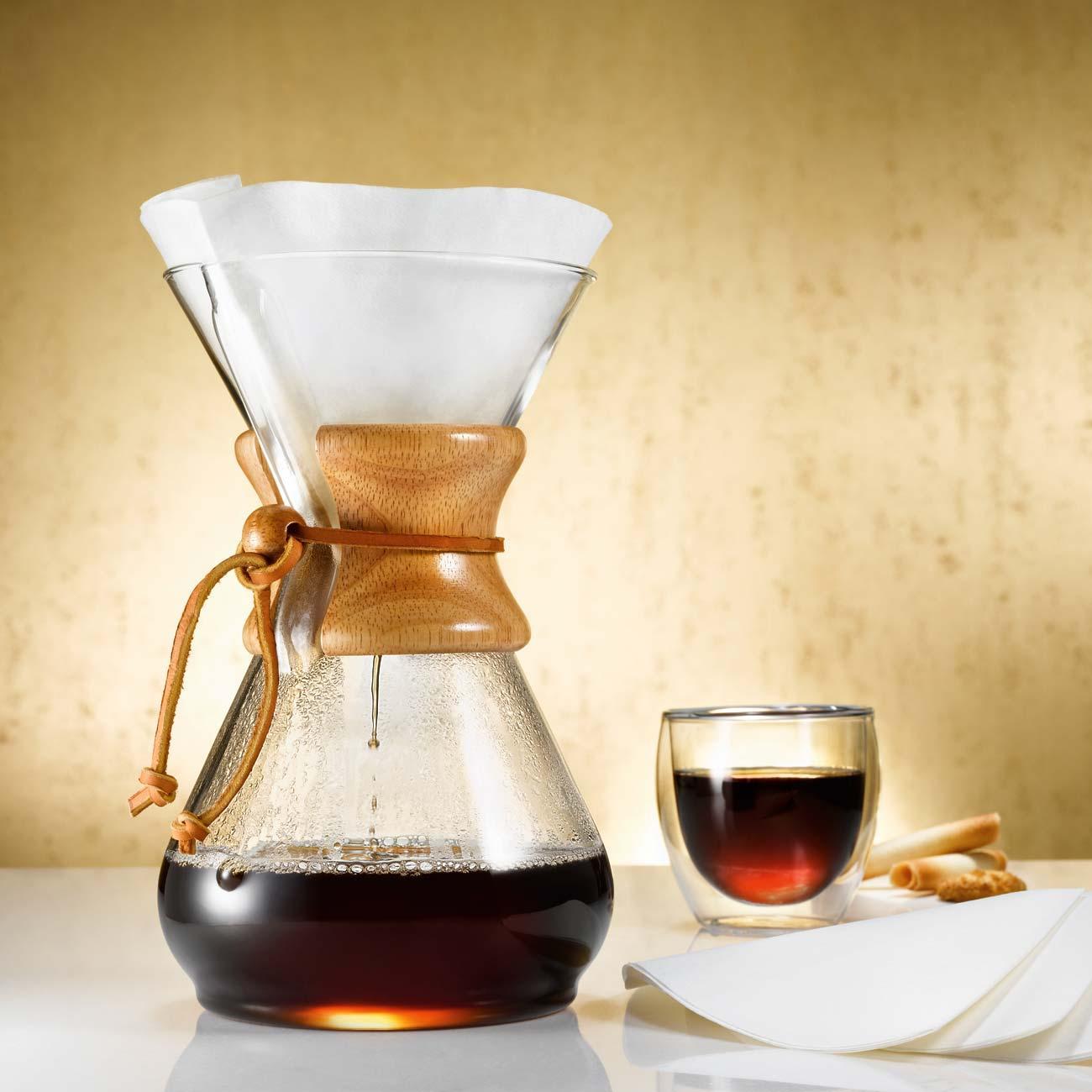 Kaffee Karaffe aus Glas mit Holzgriff, für 8 Tassen