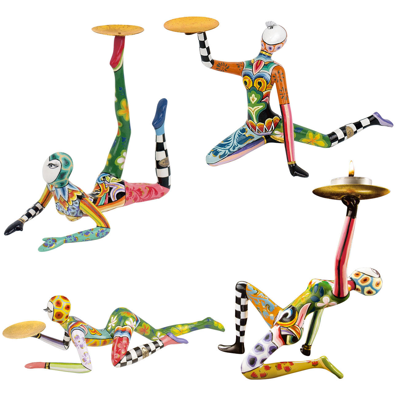 "Tom's Skulpturen Tom's Acrobat 4er-SetHandbemalte Skulpturen ""Circus Collection"" Teelichthalter Marmorin :: Rot/Grün/Blau/Gelb/Bunt -  -  - Erwachsene"