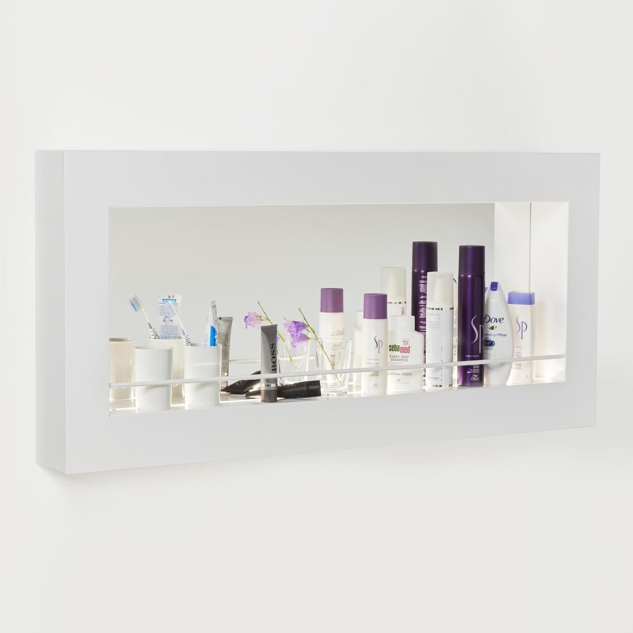 LED Spiegel-Regal, Weiß