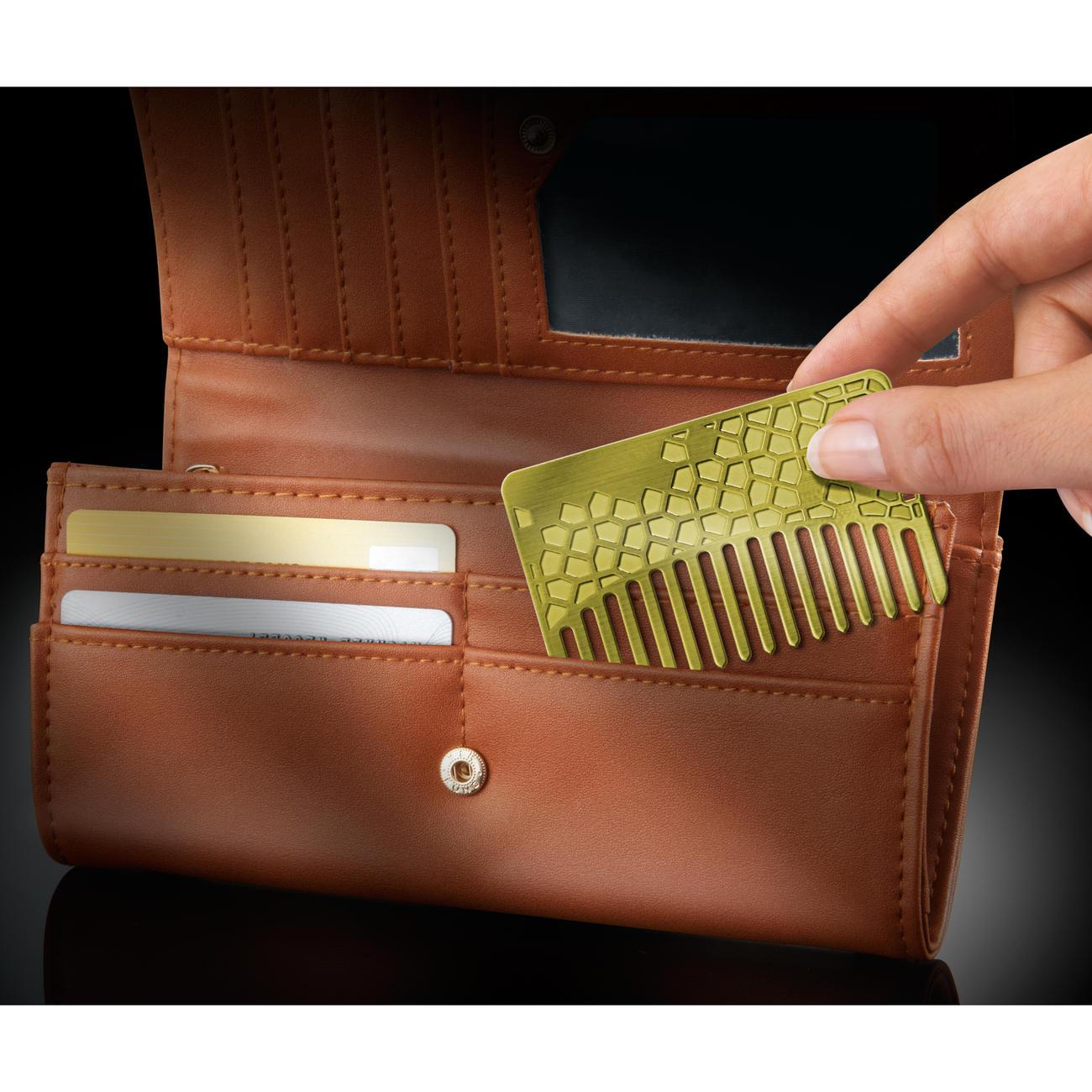 Brieftaschen-Kamm Messing oder Edelstahl, Messing