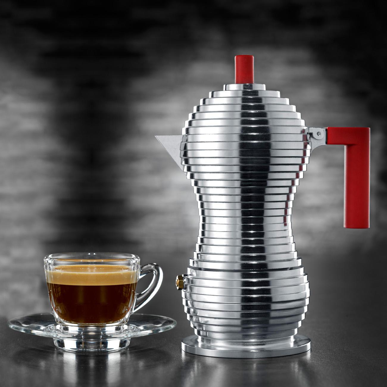 Espressokocher Pulcina für 3 Tassen, 150 ml, Aluminium/rot, 9,2 cm Durchmesser, 20 cm H