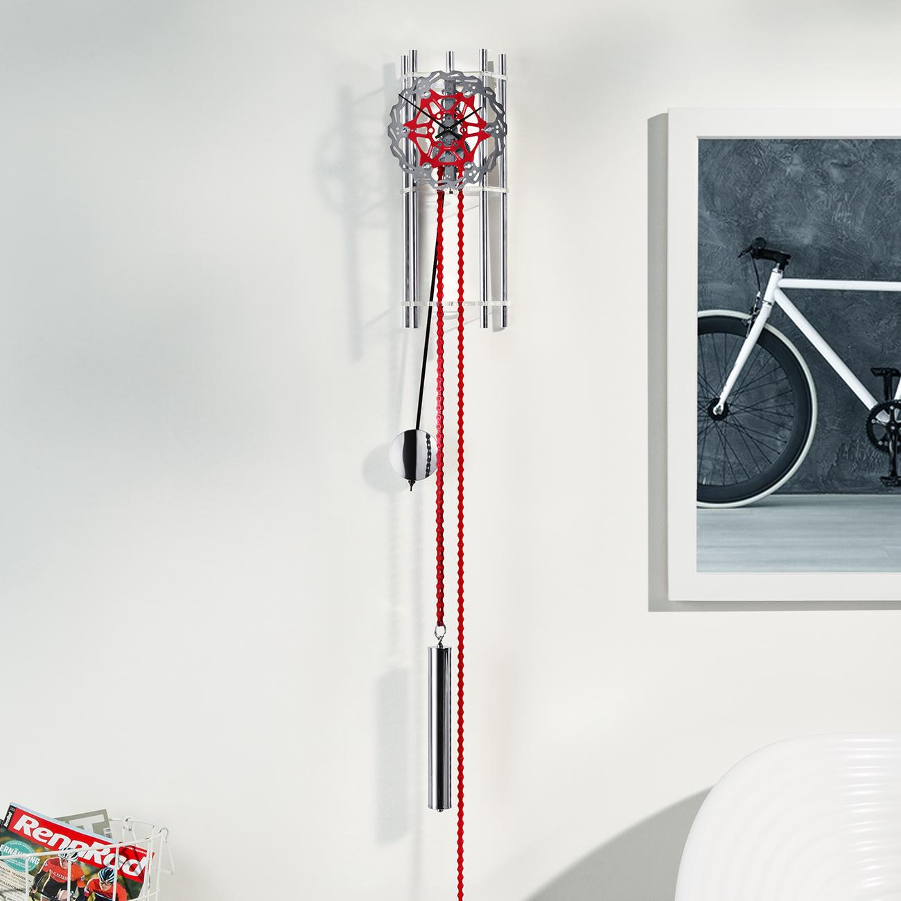 """Design-Wandpendeluhr """"Rad"""", Fahrrad-Elemente, silber/rot, mechanische Technik :: Silber/Rot/Schwarz -  -  - Erwachsene"""
