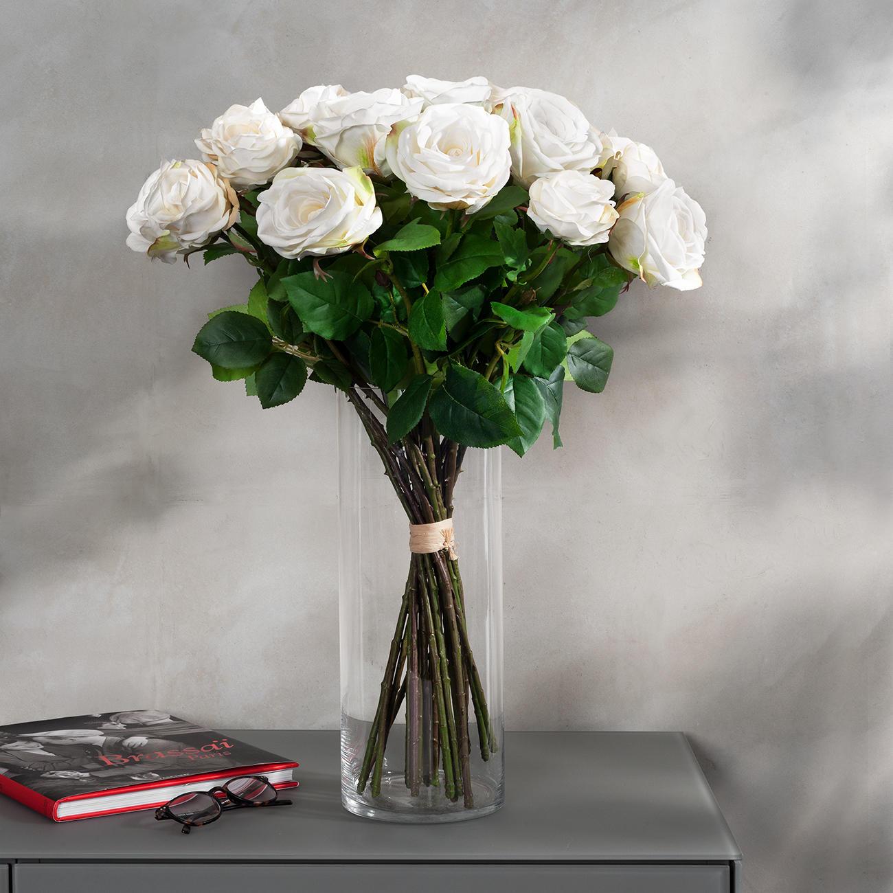 Rosenstrauß weiße Avalanche langstielige Rosen, naturgetreu, Kunstblume :: Weiß/Grün -  -  - Erwachsene