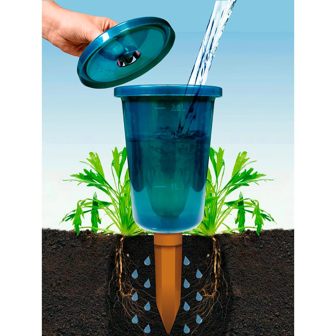 Bio Green GmbH & Co. KG Hydro Cup Bewässerungshilfe, 4er-Set, Pflanzen-Bewässerungssystem, semitransparenten Kunststoffbehälter, blau/grün, BioGreen :: Blau/Grün -  -  - Erwachsene