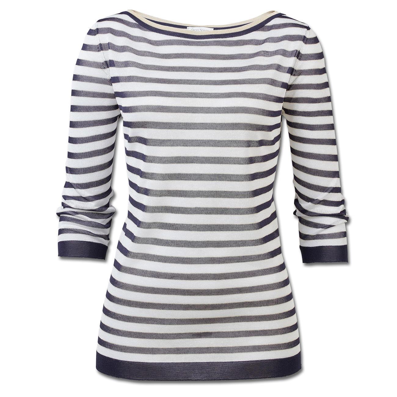 Gran Sasso Modern-Maritim-Pullover, 42 - Marine/Weiß/Gold :: Blau/Weiß - 42 -  - Erwachsene