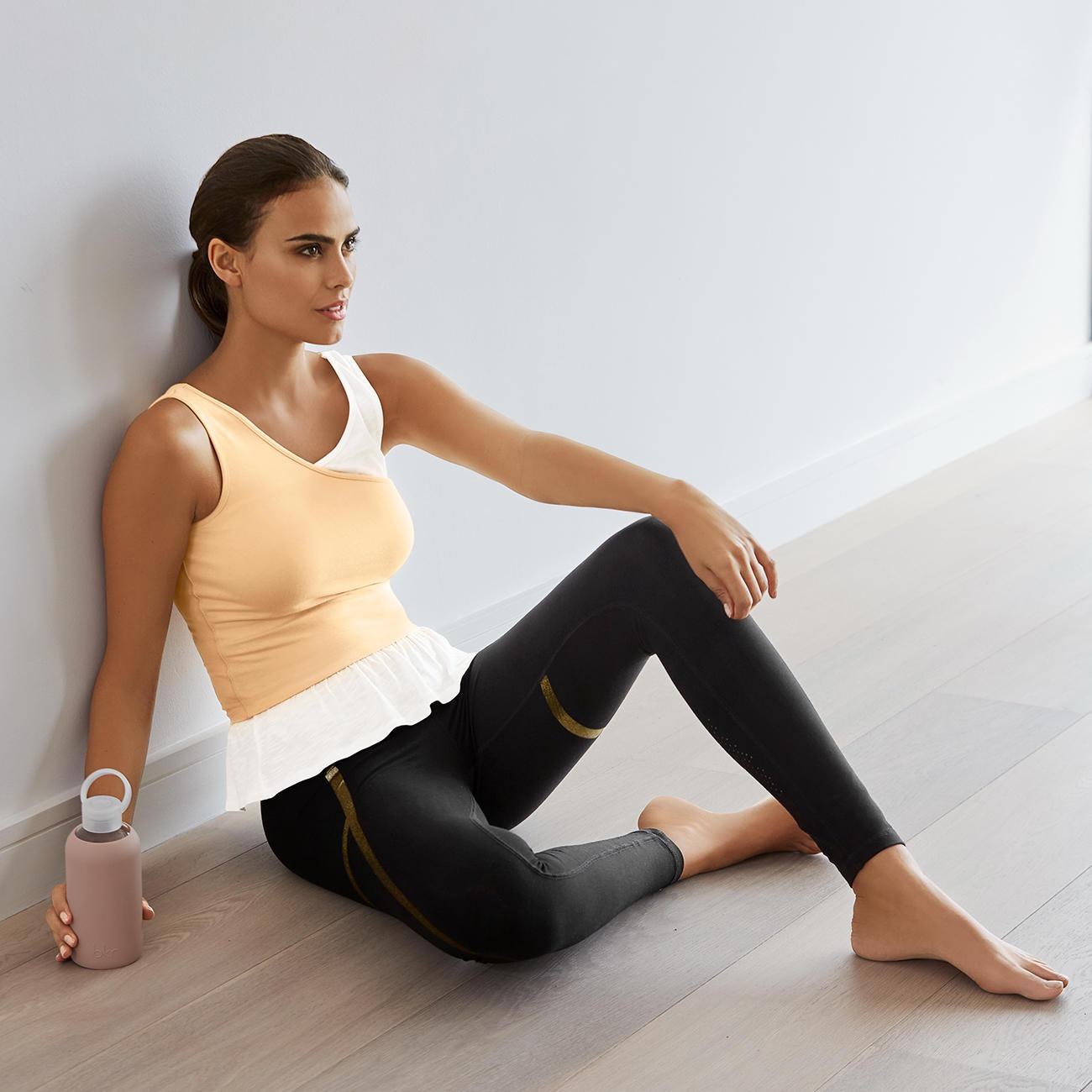 Mandala Layer-Top oder Gold-Print-Leggings, 34 - Schwarz/Gold - Gold-Print-Leggings :: Schwarz - 34 -  - Erwachsene