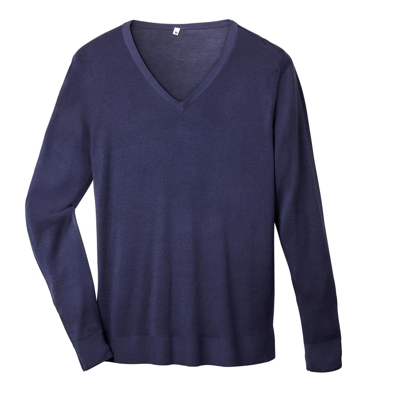 Bambus/Kaschmir-Pullover, 50 - Navy - V-Pullover :: Blau - 50 -  - Erwachsene